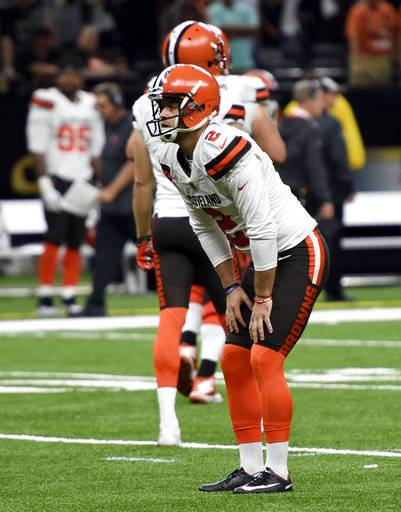 Cleveland Browns kicker Zane Gonzalez reacts after missing an extra point during the second half of an NFL football game against the New Orleans Saints, in New Orleans Sunday, Sept. 16, 2018.