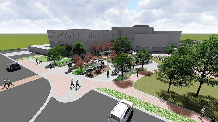 Construction is scheduled to begin Tuesday on an outdoor office plaza called Naperville Jaycees Park, with a groundbreaking ceremony on the lawn between the Naperville Municipal Center and the Riverwalk.