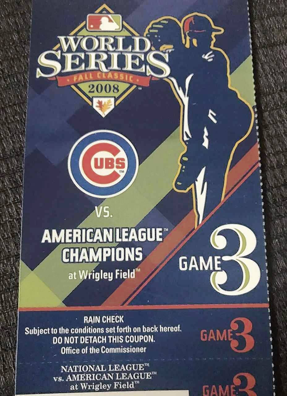 This 2008 World Series ticket for the Cubs hosting Tampa Bay Manager Joe Maddon and his upstart Rays at Wrigley Field is nothing but a painful souvenir. The Cubs fell short of the World Series when they were swept by the Los Angeles Dodgers in the National League division series. This year, there won't be any Cubs' postseason tickets, just an app.