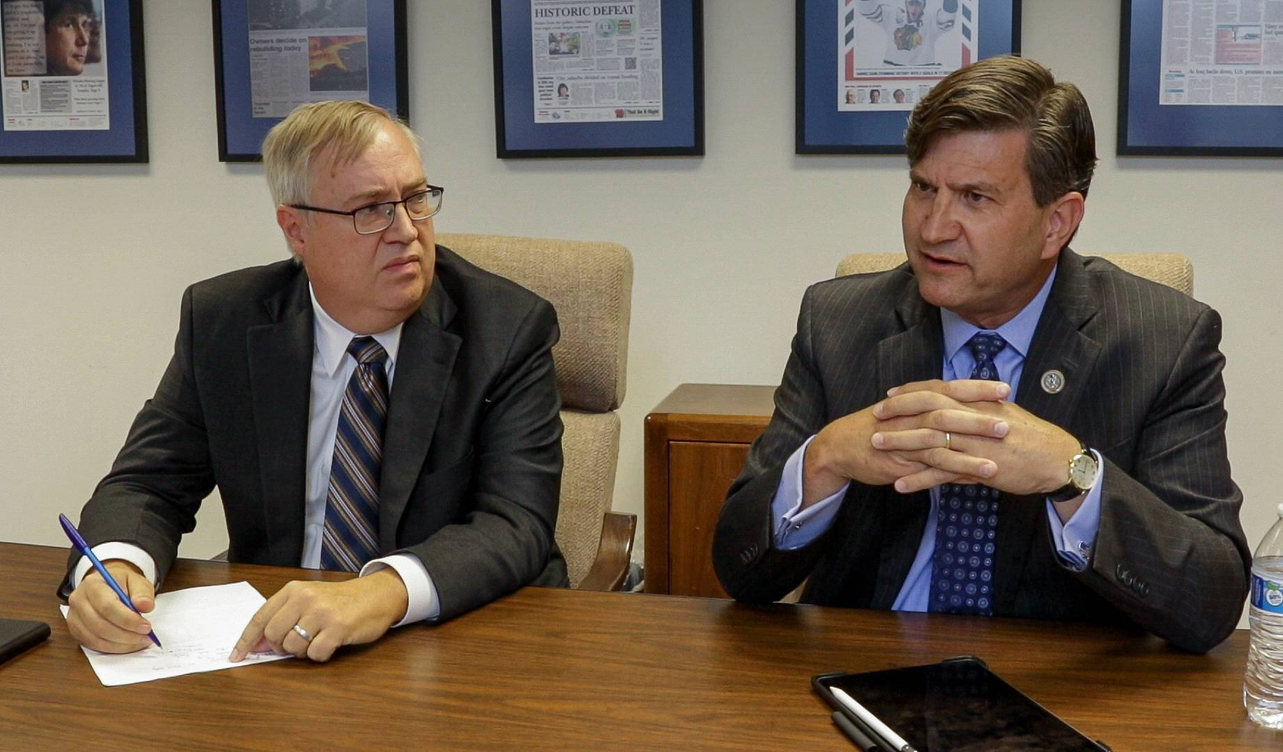 Republican challenger Doug Bennett, left, and Democratic U.S. Rep. Brad Schneider talked with the Daily Herald about immigration and other issues. They're running for Congress in Illinois' 10th District.