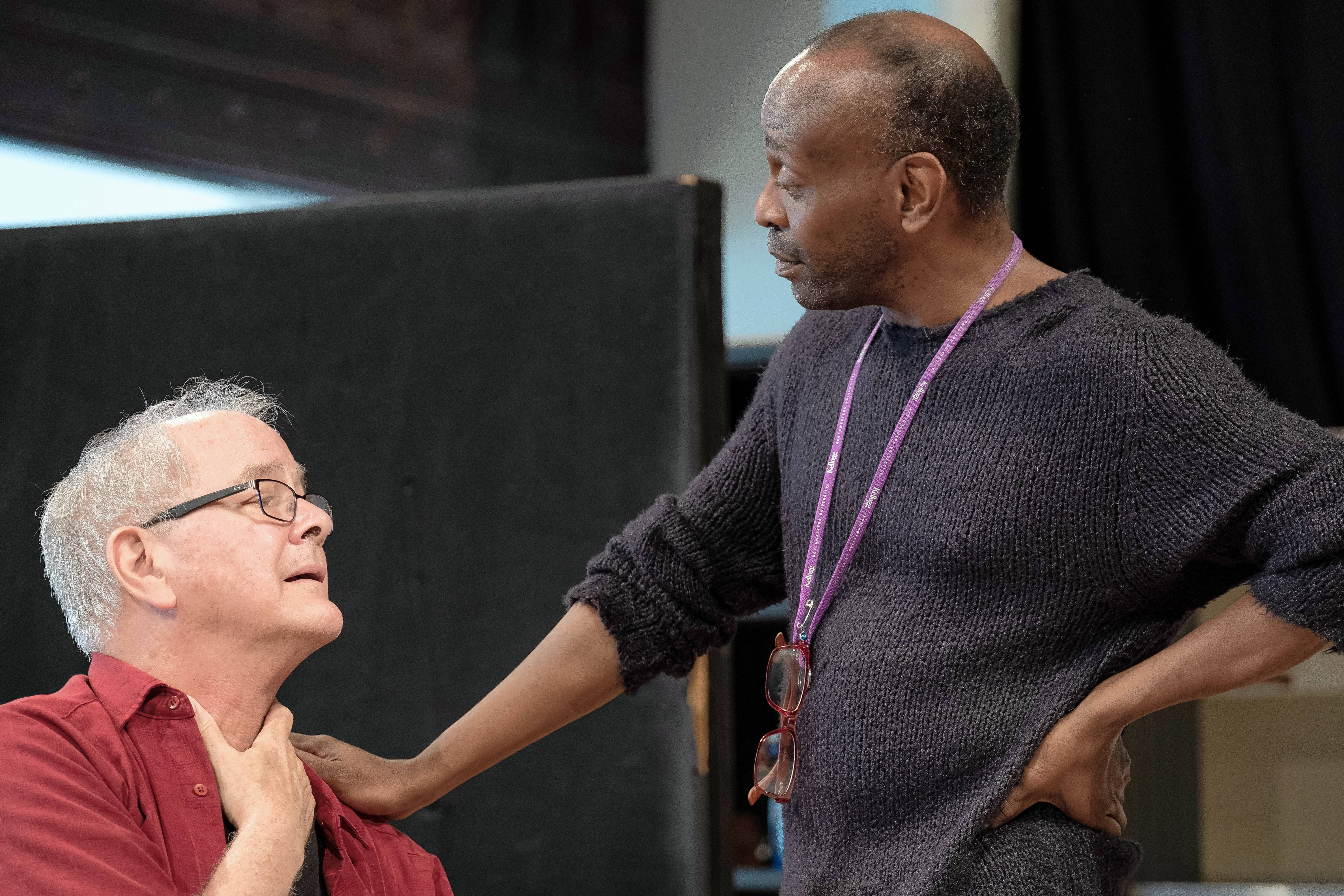 "Ensemble members Francis Guinan and K. Todd Freeman rehearse for ""Downstate,"" premiering at Chicago's Steppenwolf Theatre Company."
