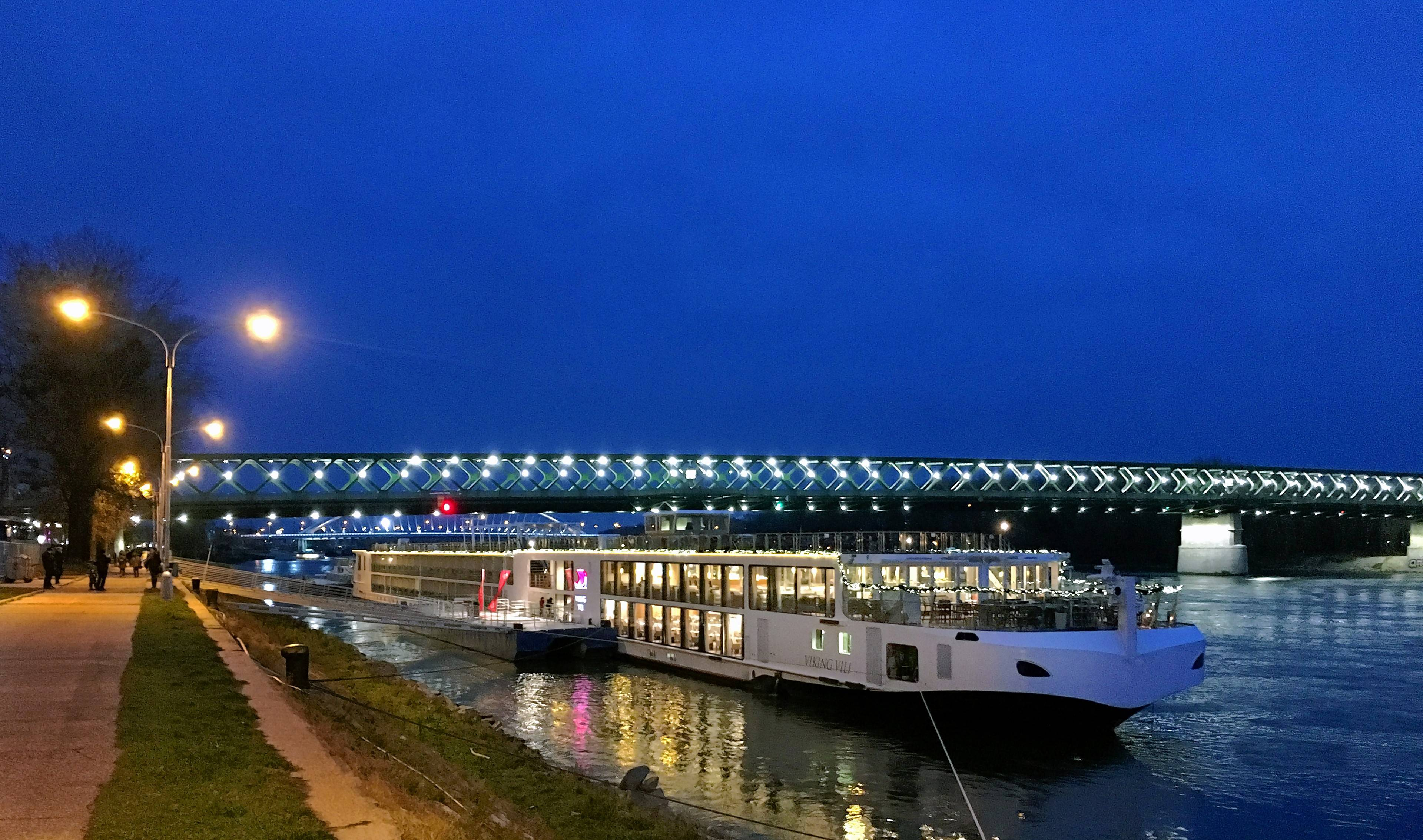 The Vili, one of Viking River Cruises ships, awaits shoppers returning from the Christmas market in Bratislava.