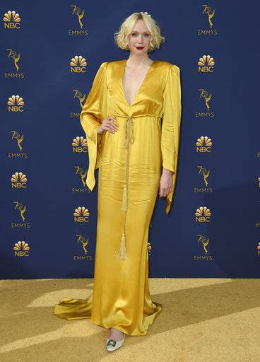 Gwendoline Christie arrives at the 70th Primetime Emmy Awards on Monday, Sept. 17, 2018, at the Microsoft Theater in Los Angeles. (Photo by Jordan Strauss/Invision/AP)