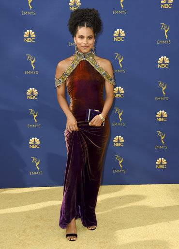 Zazie Beetz arrives at the 70th Primetime Emmy Awards on Monday, Sept. 17, 2018, at the Microsoft Theater in Los Angeles. (Photo by Jordan Strauss/Invision/AP)