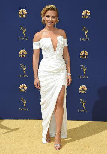 Scarlett Johansson arrives at the 70th Primetime Emmy Awards on Monday, Sept. 17, 2018, at the Microsoft Theater in Los Angeles. (Photo by Jordan Strauss/Invision/AP)