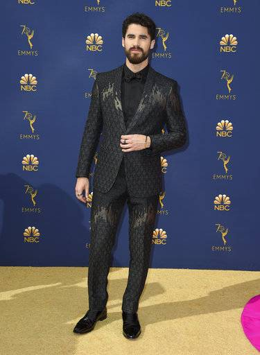 Darren Criss arrives at the 70th Primetime Emmy Awards on Monday, Sept. 17, 2018, at the Microsoft Theater in Los Angeles. (Photo by Jordan Strauss/Invision/AP)