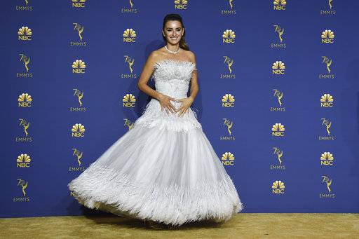Penelope Cruz poses in the press room at the 70th Primetime Emmy Awards on Monday, Sept. 17, 2018, at the Microsoft Theater in Los Angeles. (Photo by Jordan Strauss/Invision/AP)