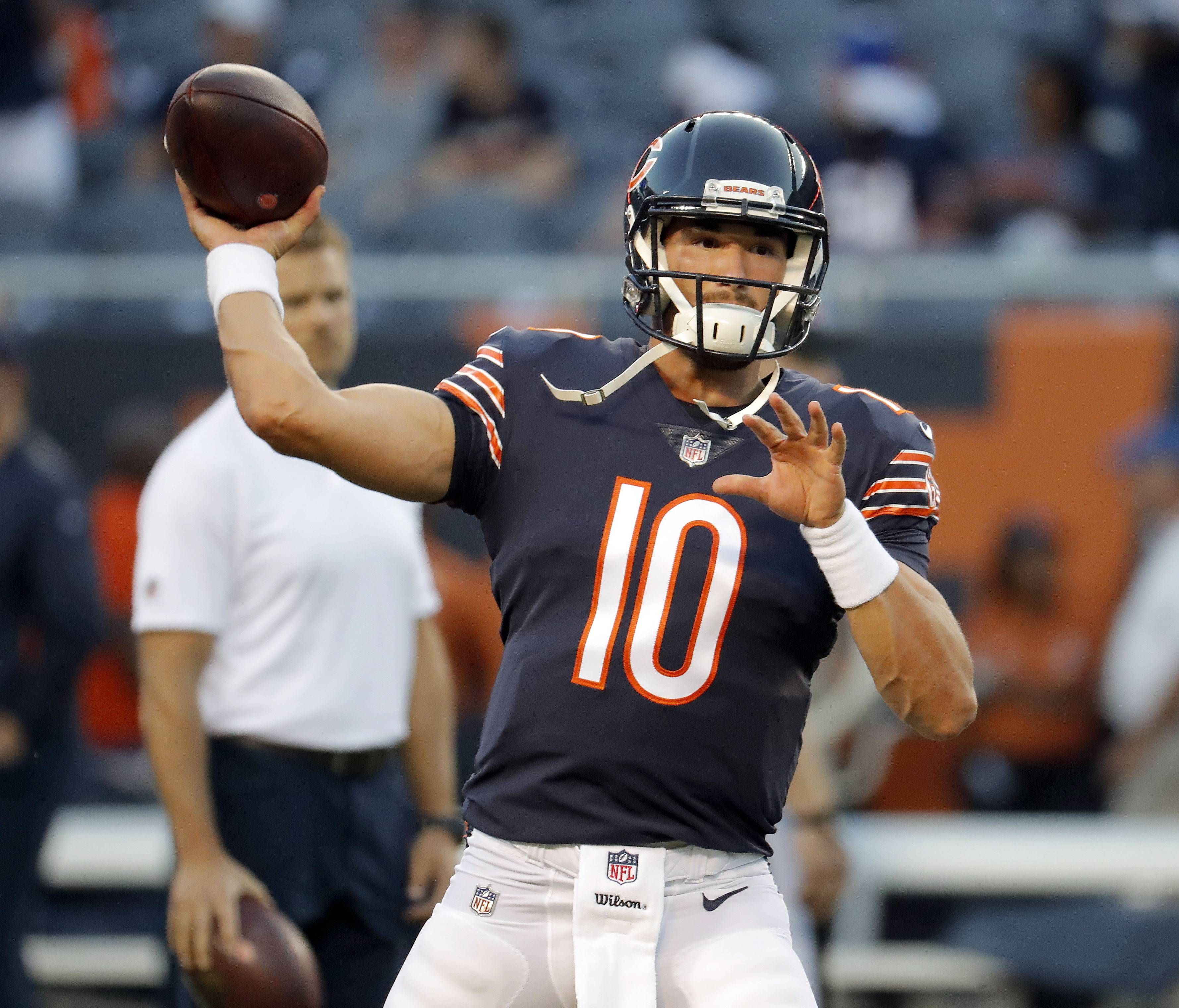 Steve Lundy/slundy@dailyherald.comChicago Bears quarterback Mitchell Trubisky warms up during the Chicago Bears vs the Seattle Seahawks game Monday September 17, 2018 at Soldier Field in Chicago.