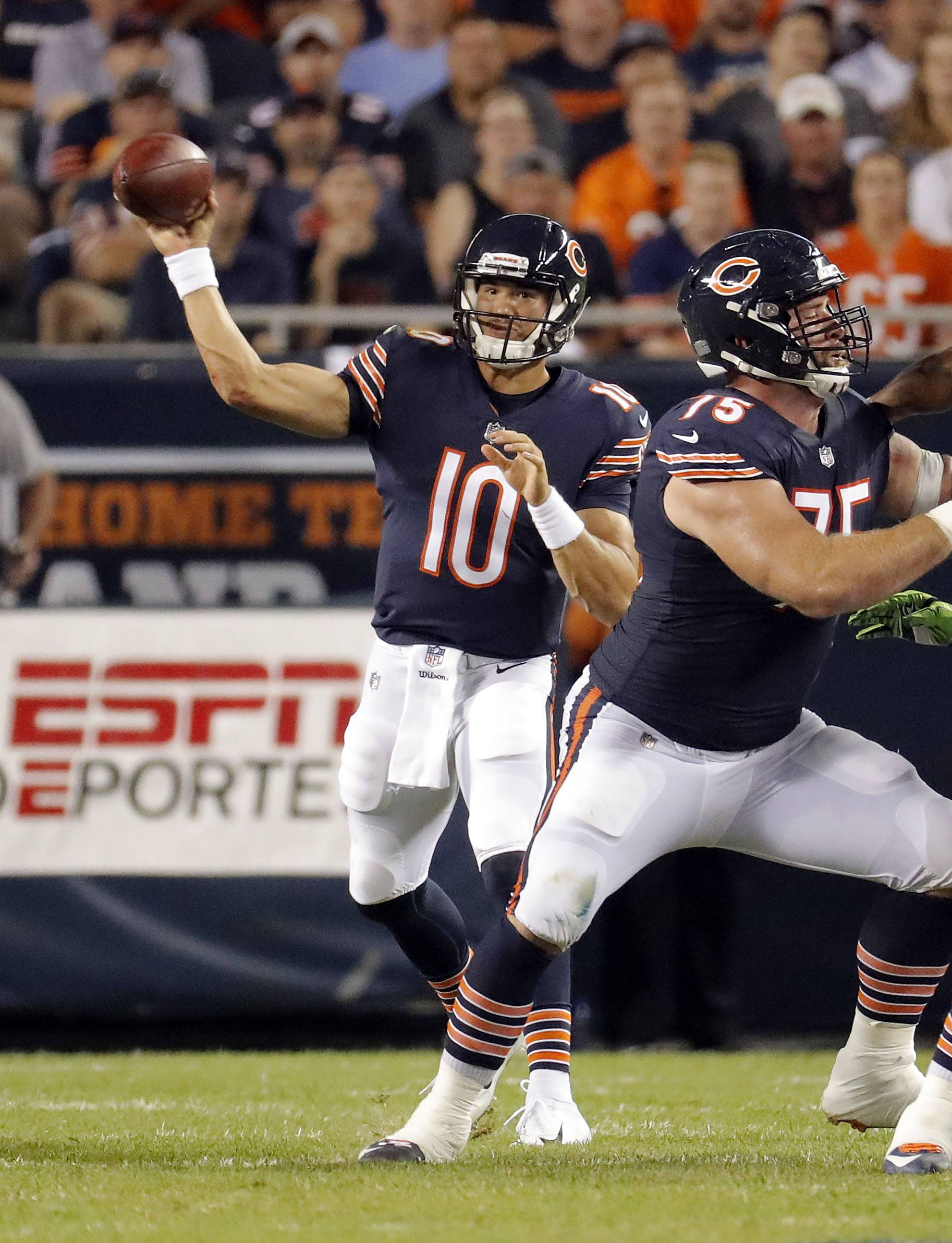 Kyle Long clears the way for Mitchell Trubisky during the Bears' win Monday night at Soldier Field.