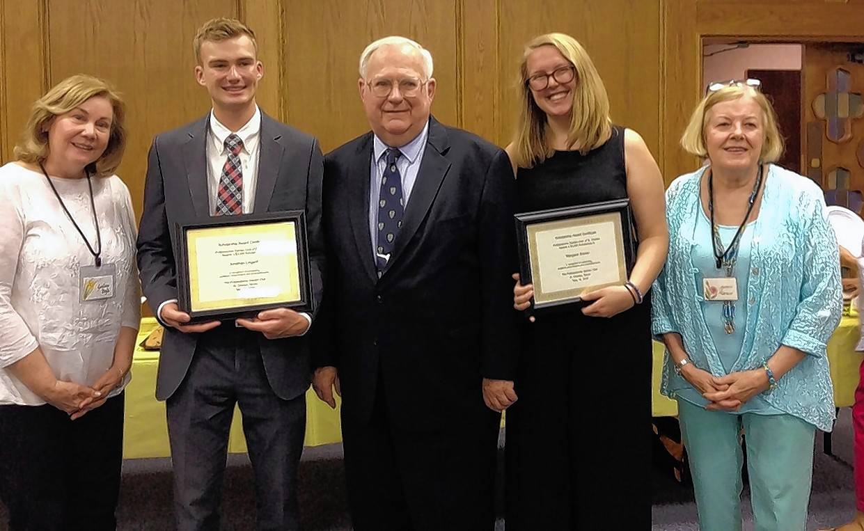 The Pottawatomie Garden Club recently awarded scholarships to two St. Charles East High School graduates: Jonathon Lingard. Pictured, from left, are Gaylene Doyle, Jonathon Lingard, Dixon Bogart, Margaret Bronec and Jeanne Marozzi.