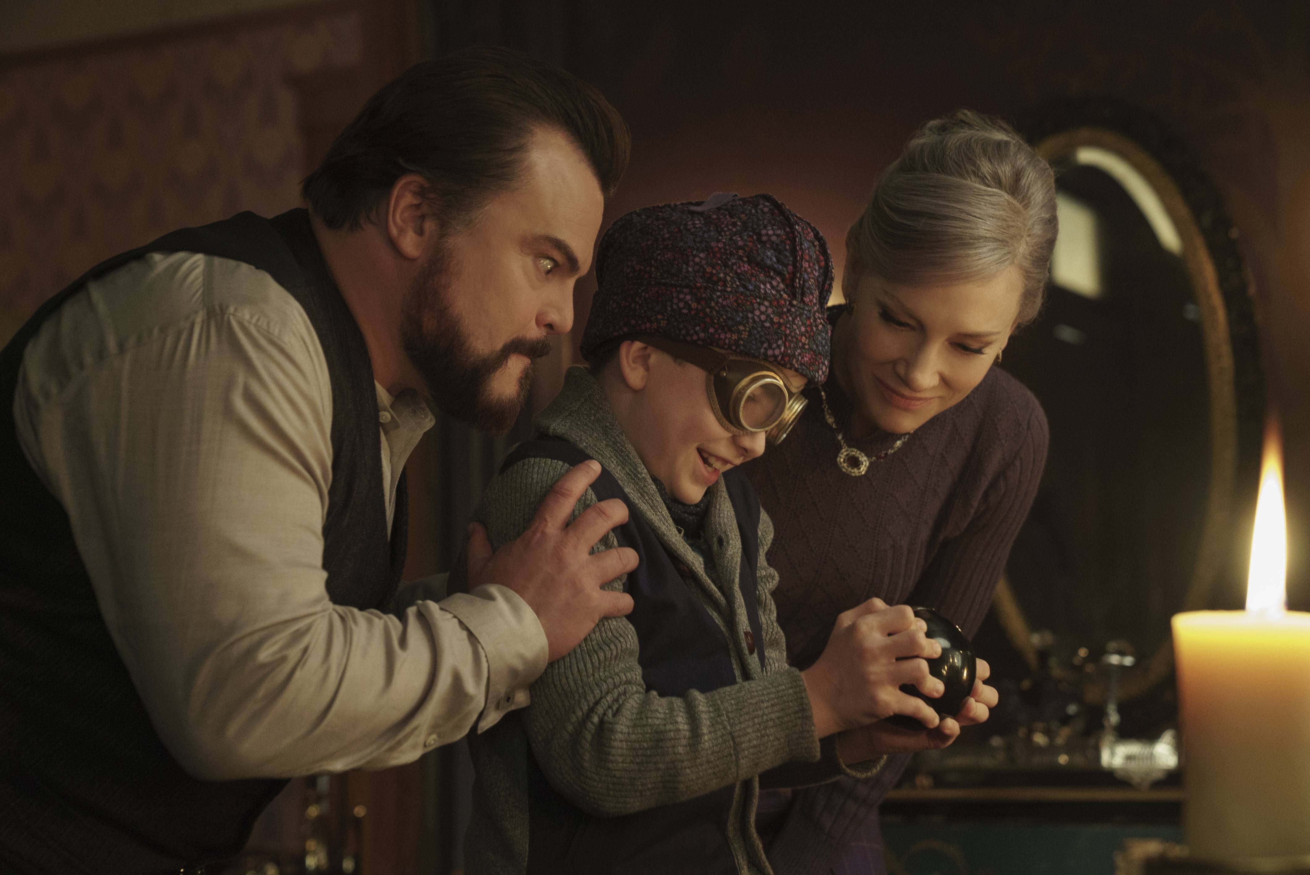 "Uncle Jonathan (Jack Black), nephew Lewis (Owen Vaccaro) and Mrs. Zimmerman (Cate Blanchett) try to save the world in ""The House With a Clock in Its Walls."""