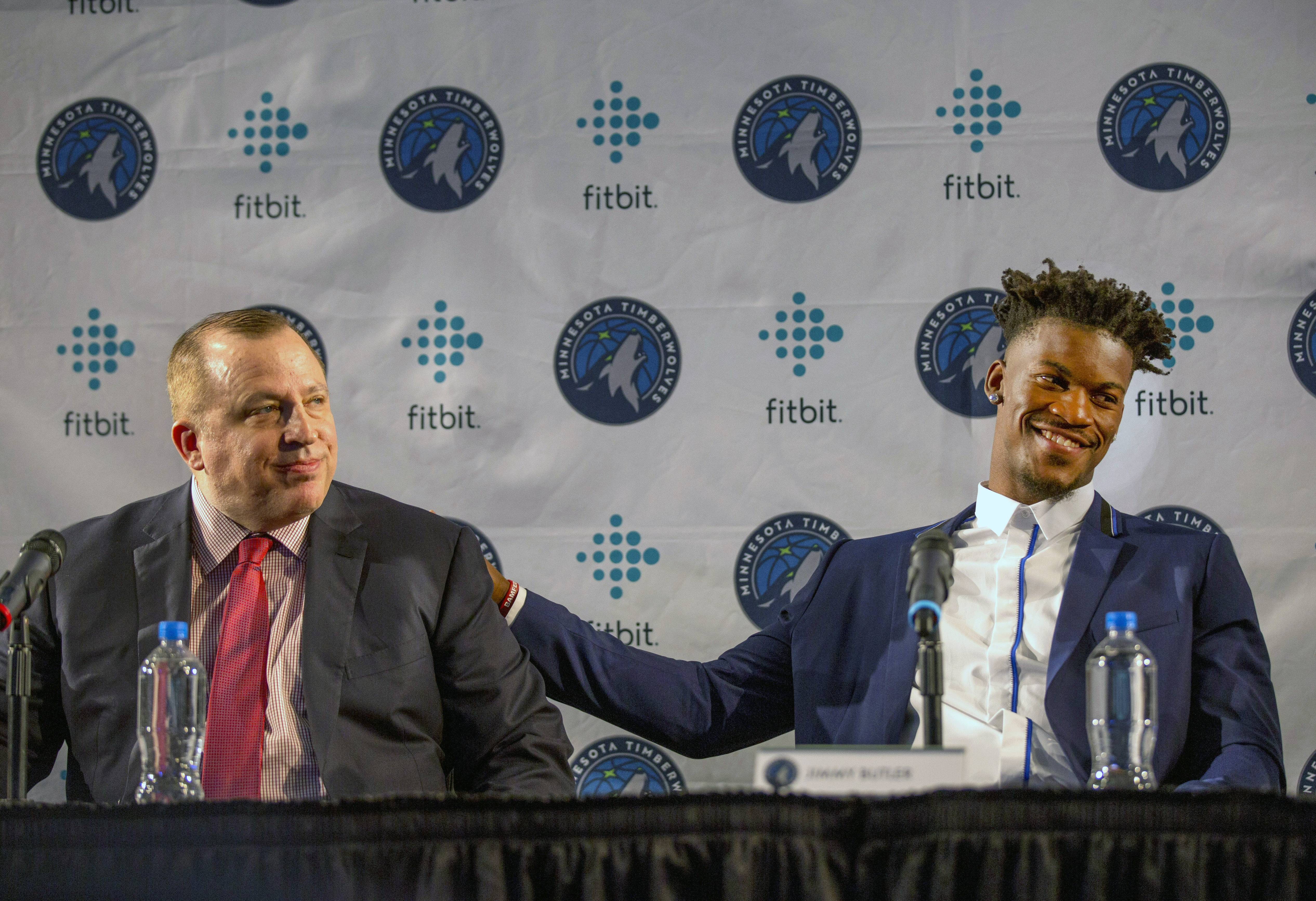 Minnesota Timberwolves point guard Jimmy Butler, here at his introductory news conference last year, told coach Tom Thibodeau Wednesday he wants to be traded.