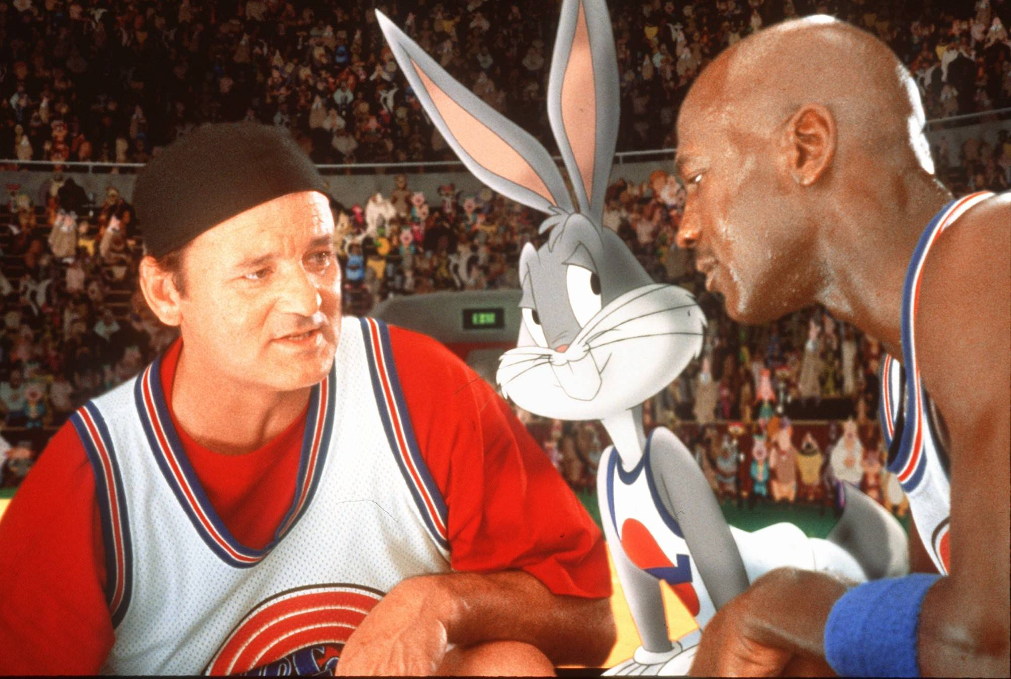 "Bill Murray, left, Bugs Bunny, and Michael Jordan gather for a ""Space Jam."""