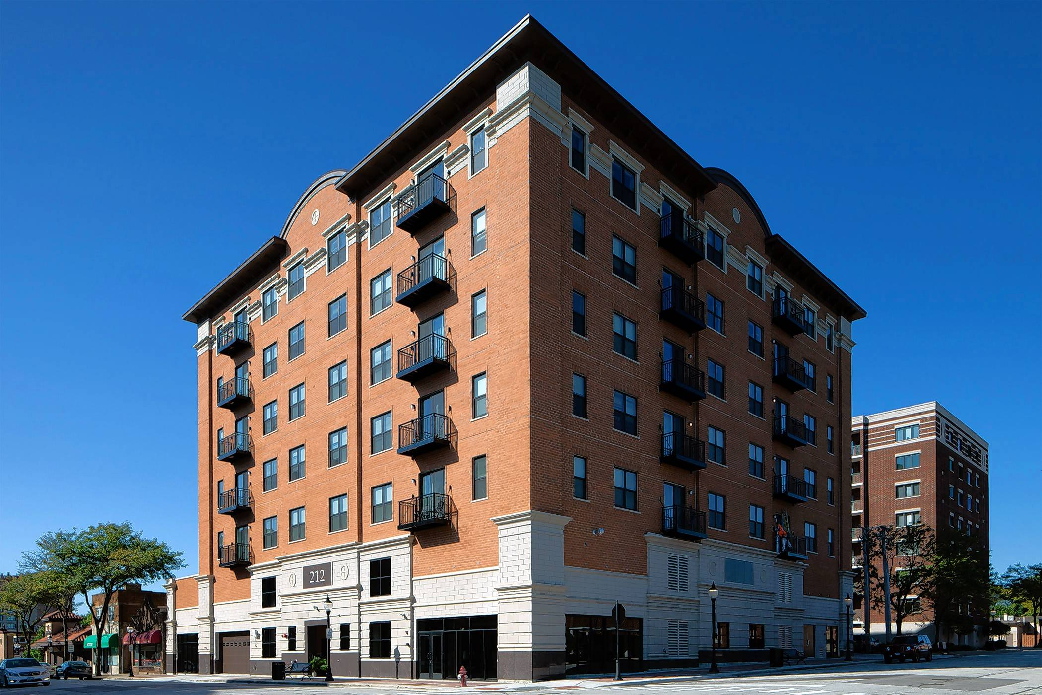A seven-story, 45-unit apartment building at 212 N. Dunton Ave. in downtown Arlington Heights is now complete.