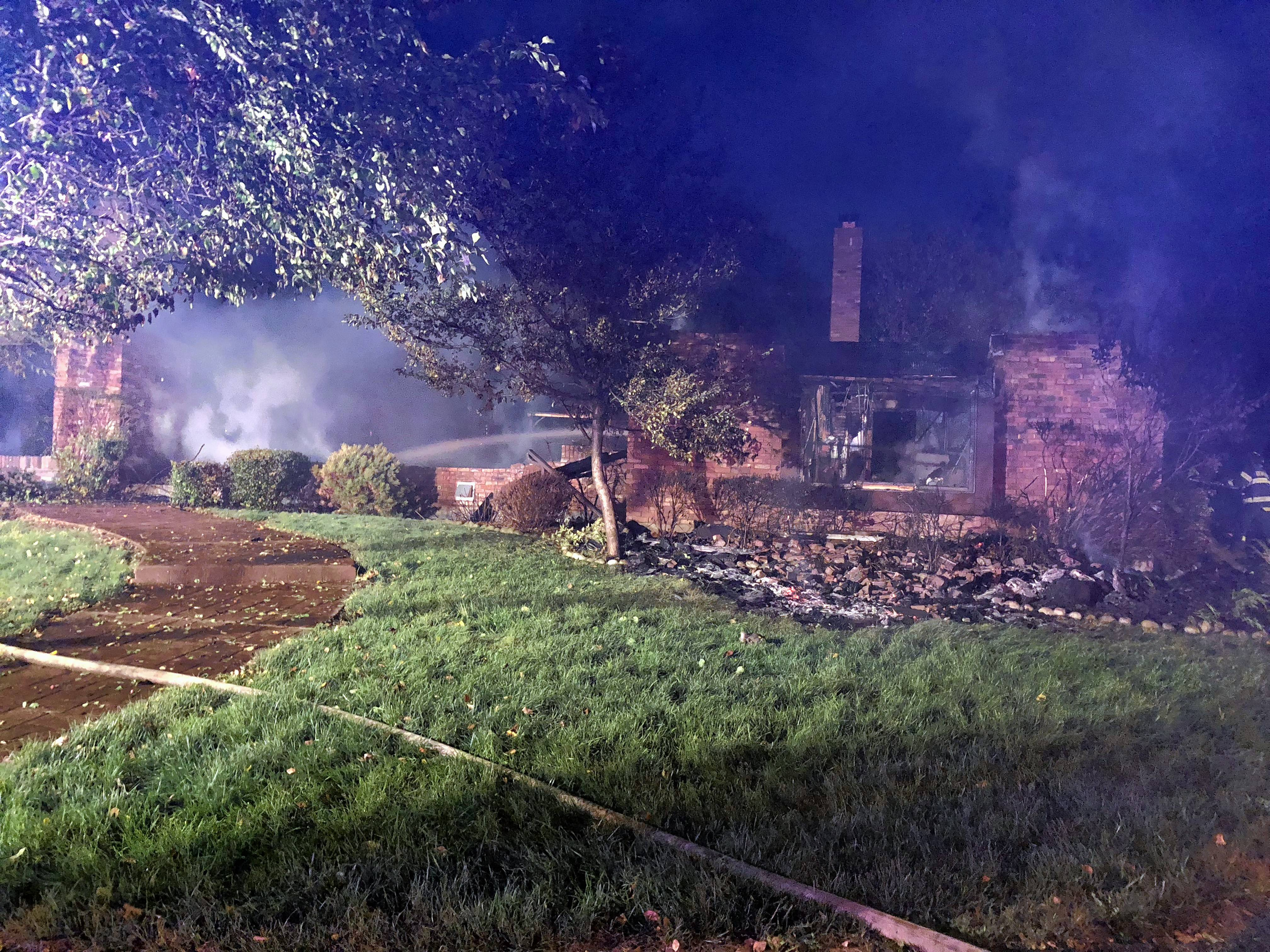 A house on Woodland Avenue near Bensenville valued at roughly $600,000 was destroyed by a fire Thursday after firefighters were thwarted by water main breaks that disabled nearby hydrants.