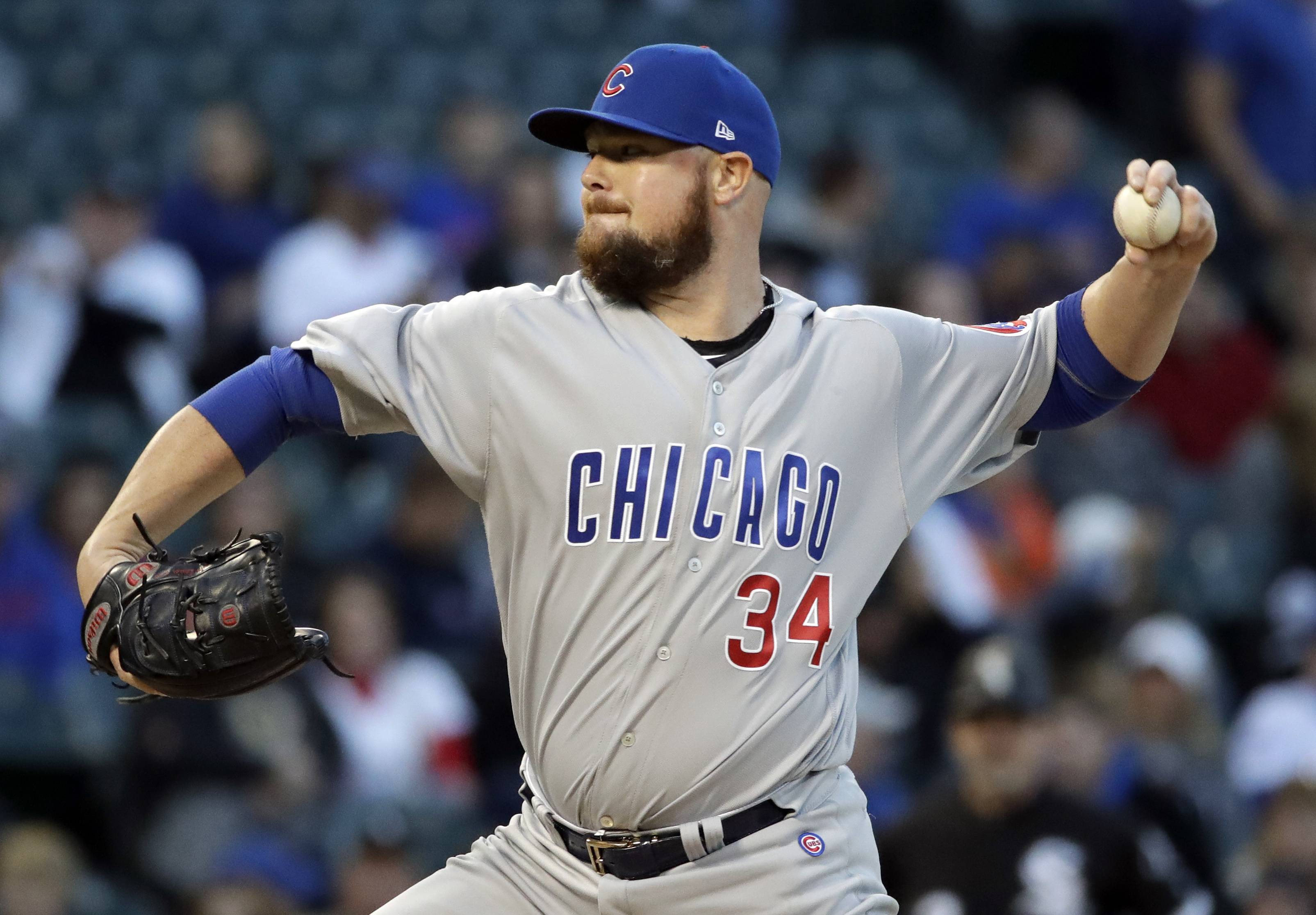 Chicago Cubs starting pitcher Jon Lester throws against the Chicago White Sox during the first inning of a baseball game Saturday, Sept. 22, 2018, in Chicago. (AP Photo/Nam Y. Huh)