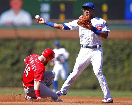 Cincinnati Reds' Tucker Barnhart, left, is out at second base as Chicago Cubs' Addison Russell makes the throw to first base during the fourth inning of a baseball game Sunday, Sept. 16, 2018, in Chicago.