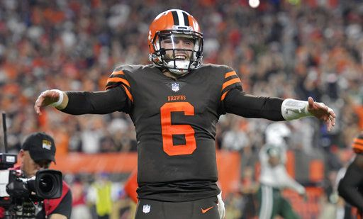 c9be125a4b Cleveland Browns quarterback Baker Mayfield celebrates a 1-yard touchdown  by running back Carlos Hyde