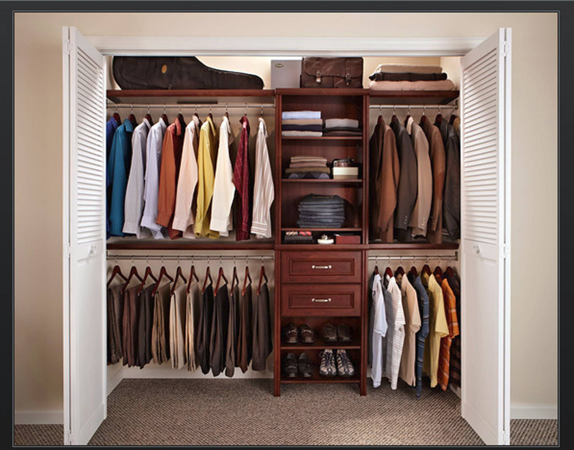 The key to organizing a closet is to part with any clothing you do not wear.