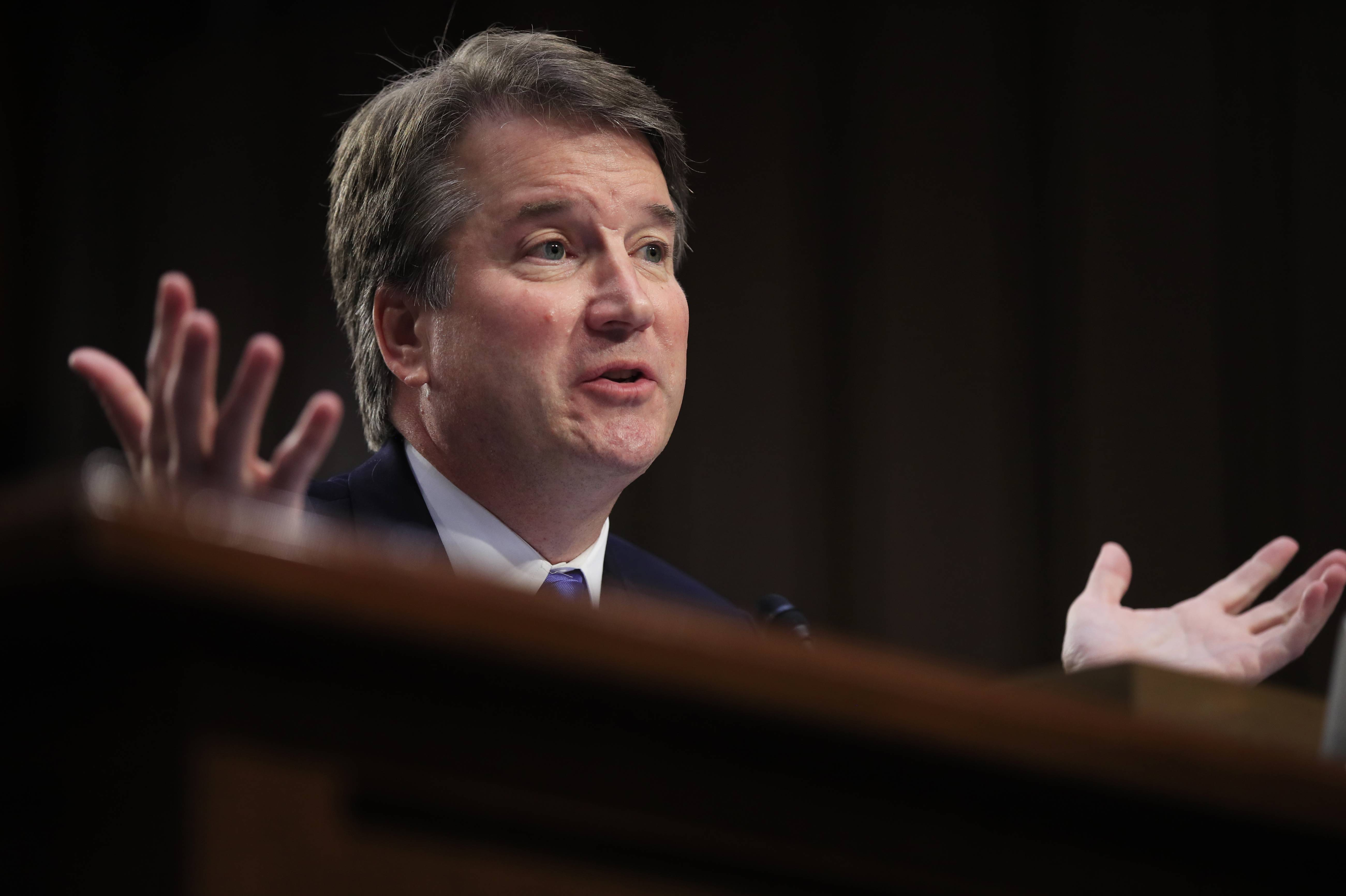 FILE — In this Sept. 5, 2018, file photo, Supreme Court nominee Brett Kavanaugh testifies before the Senate Judiciary Committee on Capitol Hill in Washington. Combat won out over caution. White House aides and congressional allies worked all week to keep President Donald Trump from unloading on the woman who has accused Kavanaugh of sexual misconduct. (AP Photo/Manuel Balce Ceneta)