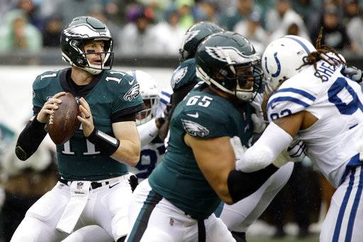 Philadelphia Eagles' Wendell Smallwood reacts after a catch during the first half of an NFL football game against the Indianapolis Colts, Sunday, Sept. 23, 2018, in Philadelphia. (AP Photo/Matt Rourke)