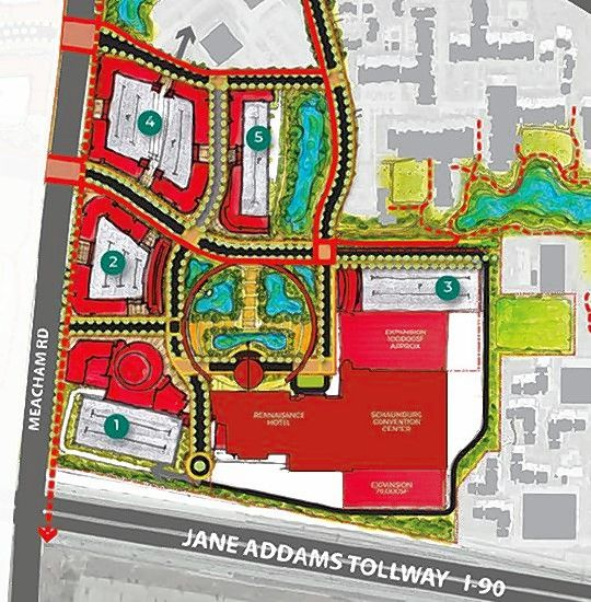 This is a sketch of the village of Schaumburg's draft plan of an envisioned entertainment district around the existing Schaumburg Convention Center and its adjoining Renaissance Hotel at the northeast corner of Meacham Road and the Jane Addams Memorial Tollway.