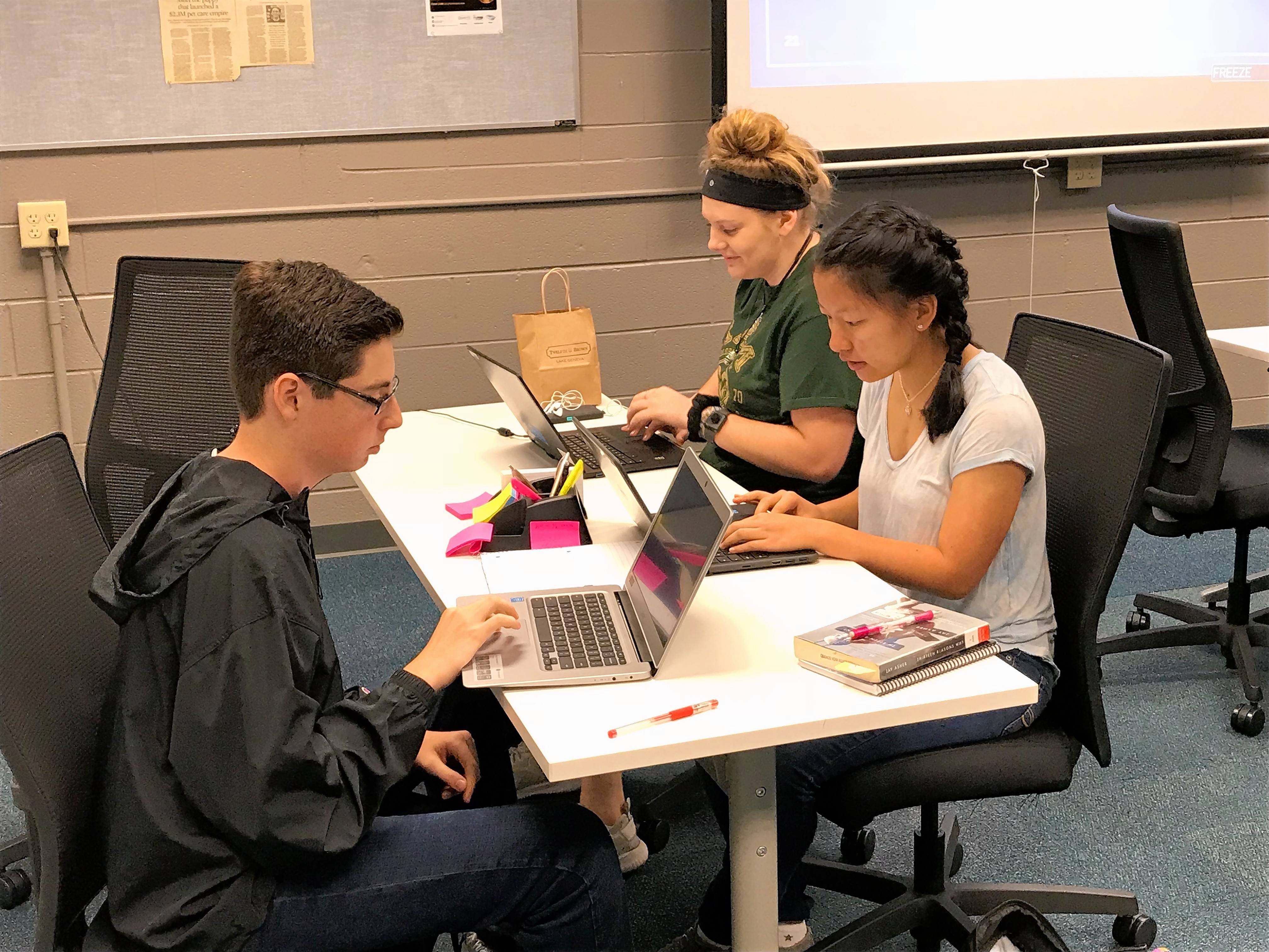 A classroom at St. Charles North High School has been converted into a business incubator for the school district's new INCubatoredu program.