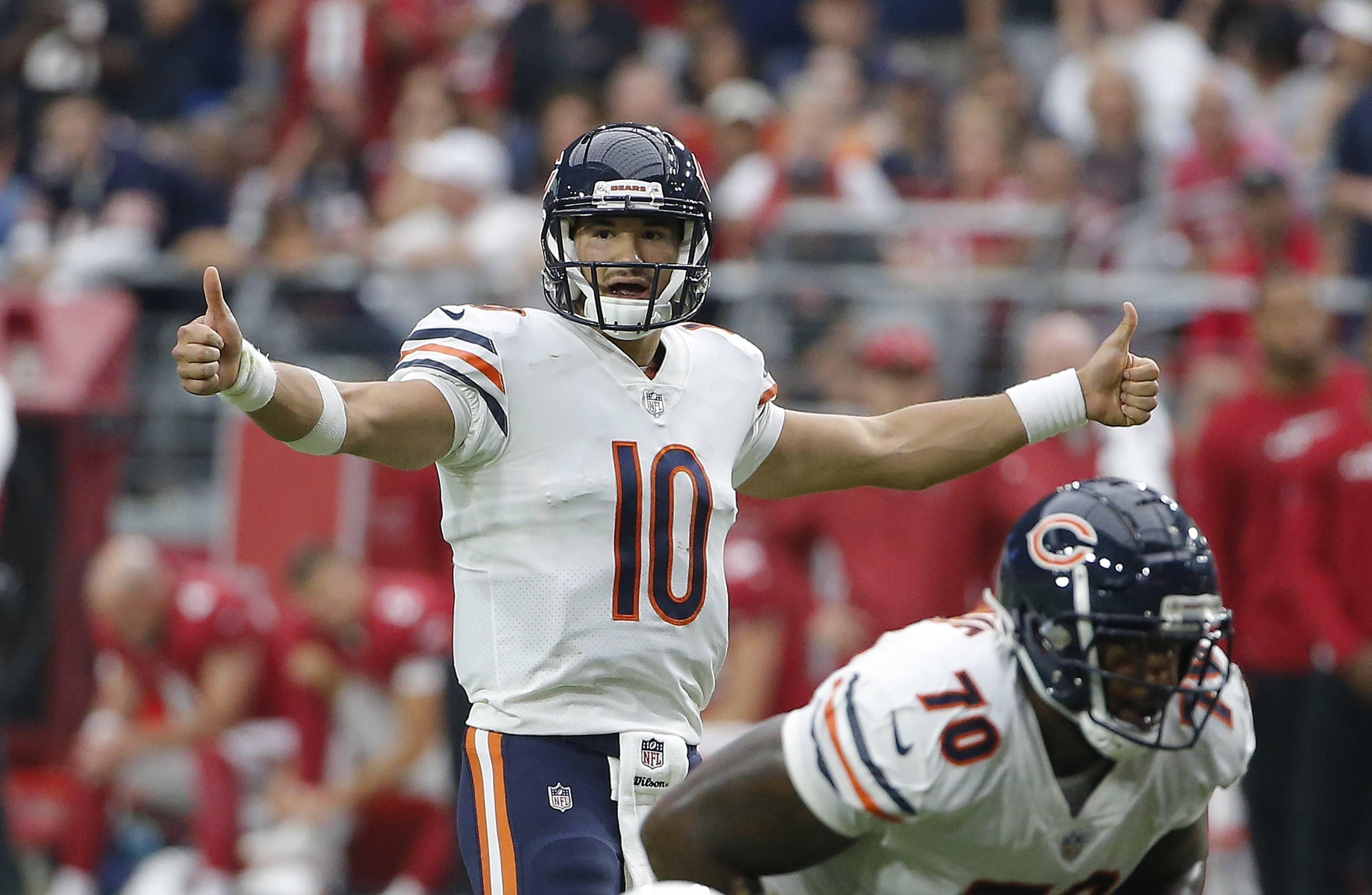 Chicago Bears quarterback Mitchell Trubisky signals during the second half of an NFL football game against the Arizona Cardinals, in Glendale, Ariz. The Bears own sole possession of the NFC North lead for the first time since late in the 2013 season.