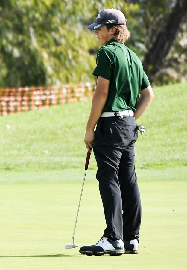 Stevenson's Mark Noonan watches his putt at the North Suburban Conference boys golf tournament at Willow Glen Golf Club in North Chicago Tuesday. Noonan shot a 72 to finish second overall in the tournament.