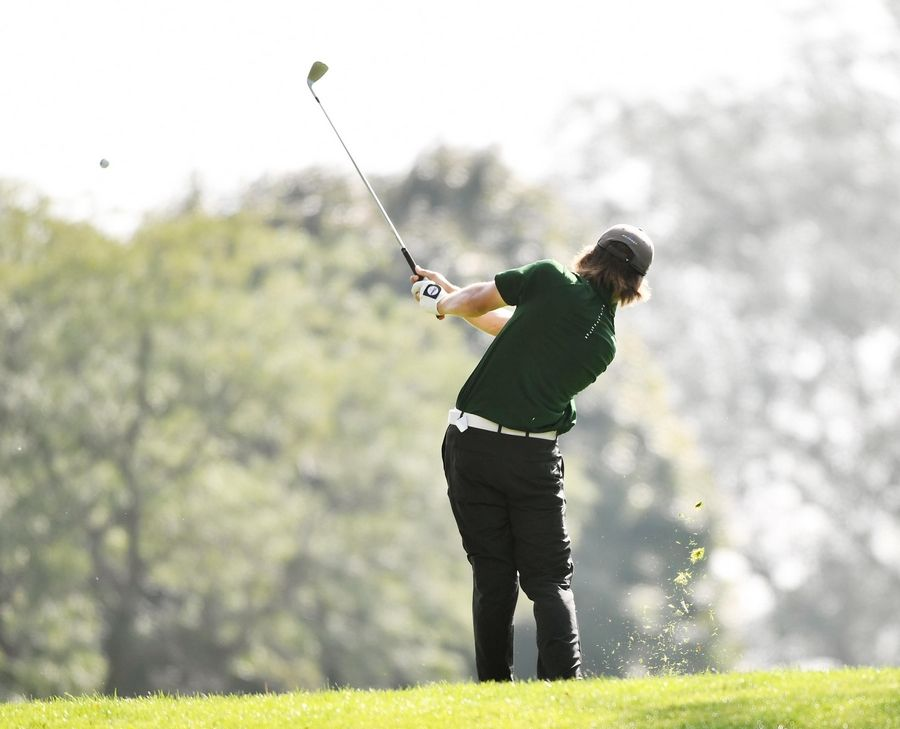 Stevenson's Mark Noonan tees off at the North Suburban Conference boys golf tournament at Willow Glen Golf Club in North Chicago Tuesday.