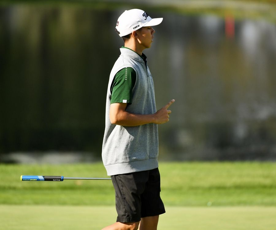 Stevenson's Jackson Bussell reacts to a putt at the North Suburban Conference boys golf tournament at Willow Glen Golf Club in North Chicago Tuesday.
