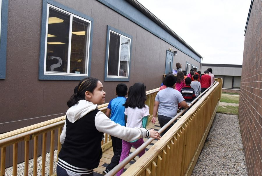 Hawthorn Elementary South students head outside to mobile classroom at the Vernon Hills school.