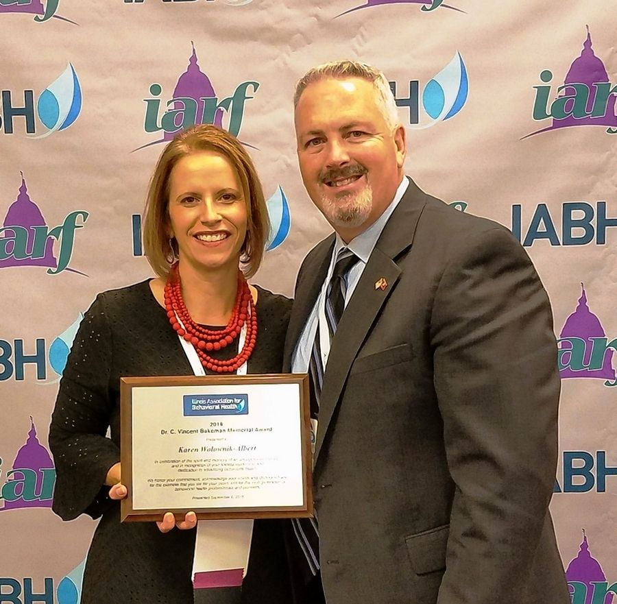Dr. Vincent Bakeman Memorial Award recipient Karen Wolownik-Albert, left, Executive Director for Gateway Foundation, Lake Villa, with Bruce Johnson, CEO for Nicasa Behavioral Health Services, who nominated her for the award.