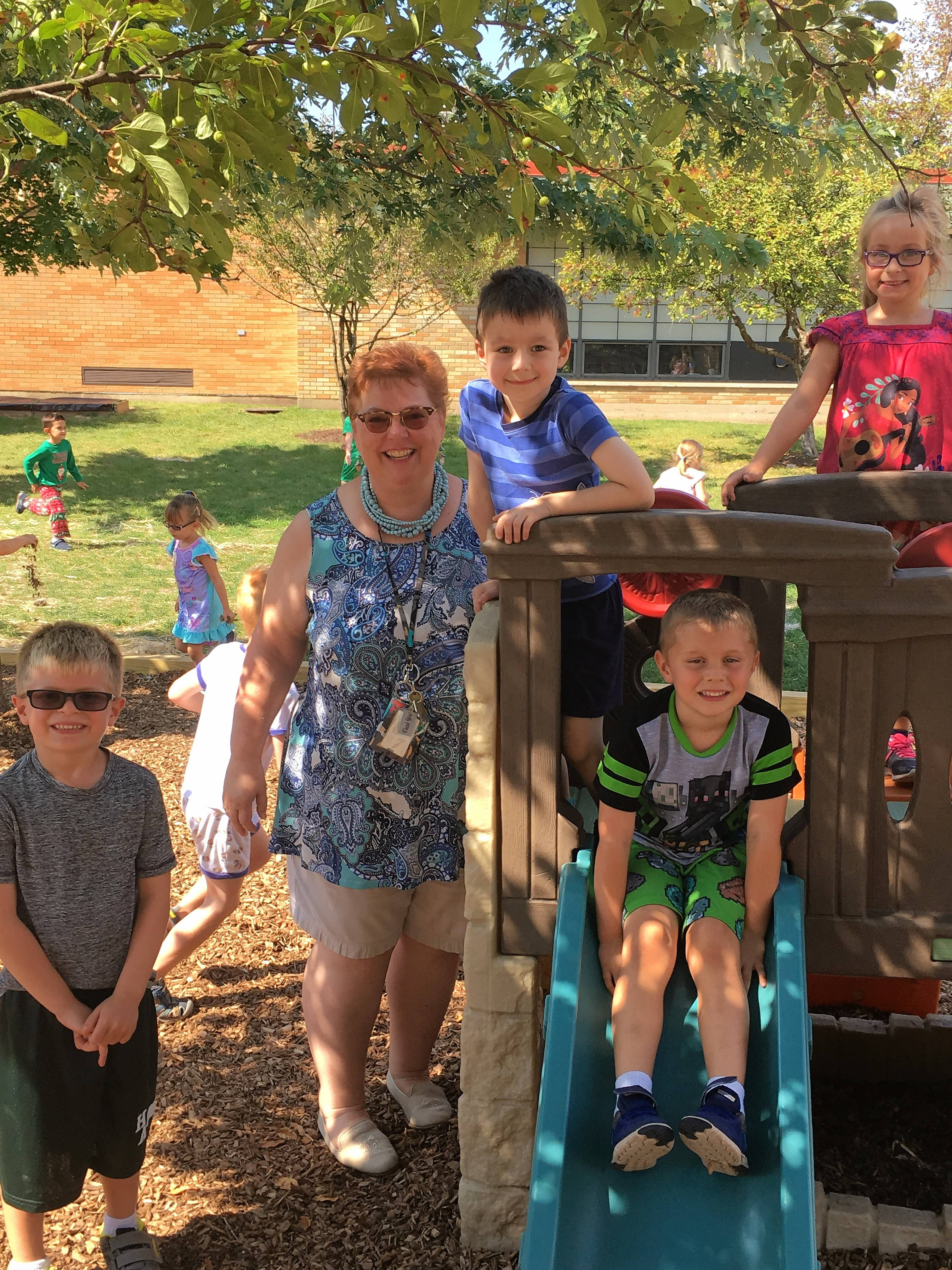 Principal Tonya Forbes is back on the playground at Holy Angels Catholic School in Aurora following knee surgeries.