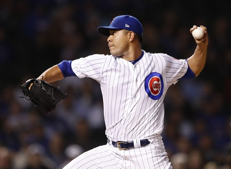 Chicago Cubs starting pitcher Jose Quintana delivers against the Pittsburgh Pirates during the first inning of a baseball game, Wednesday, Sept. 26, 2018, in Chicago.