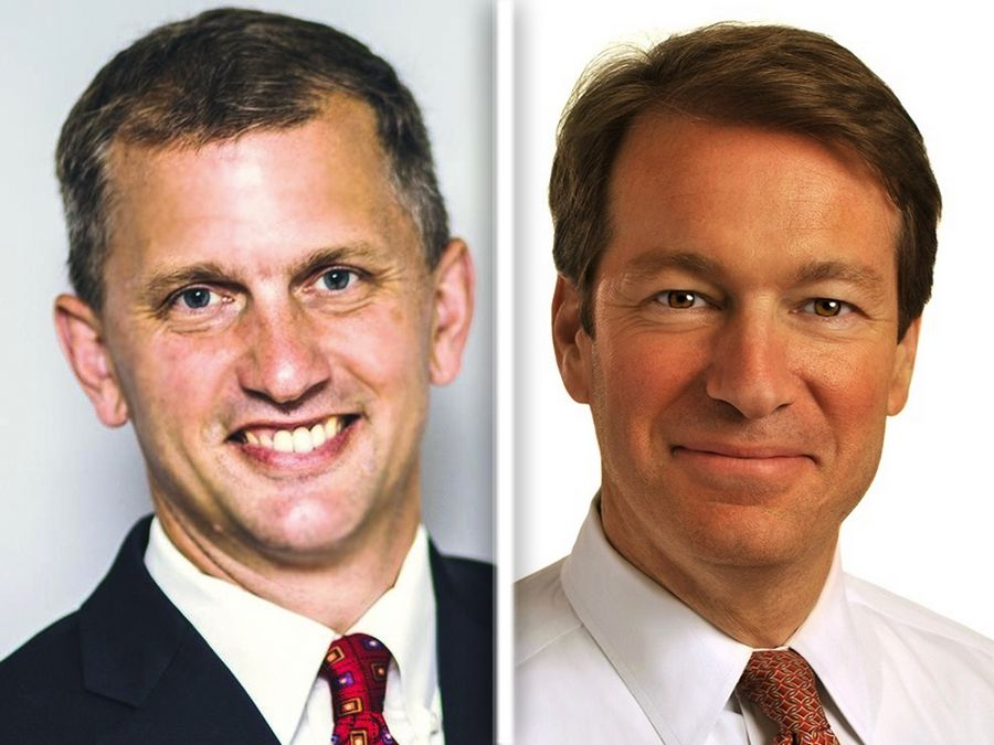 6th District candidates Democrat Sean Casten, left, and Republican incumbent Peter Roskam disagree about many taxation issues, including whether to lift the payroll cap on the amount of income that can be taxed to support Social Security.