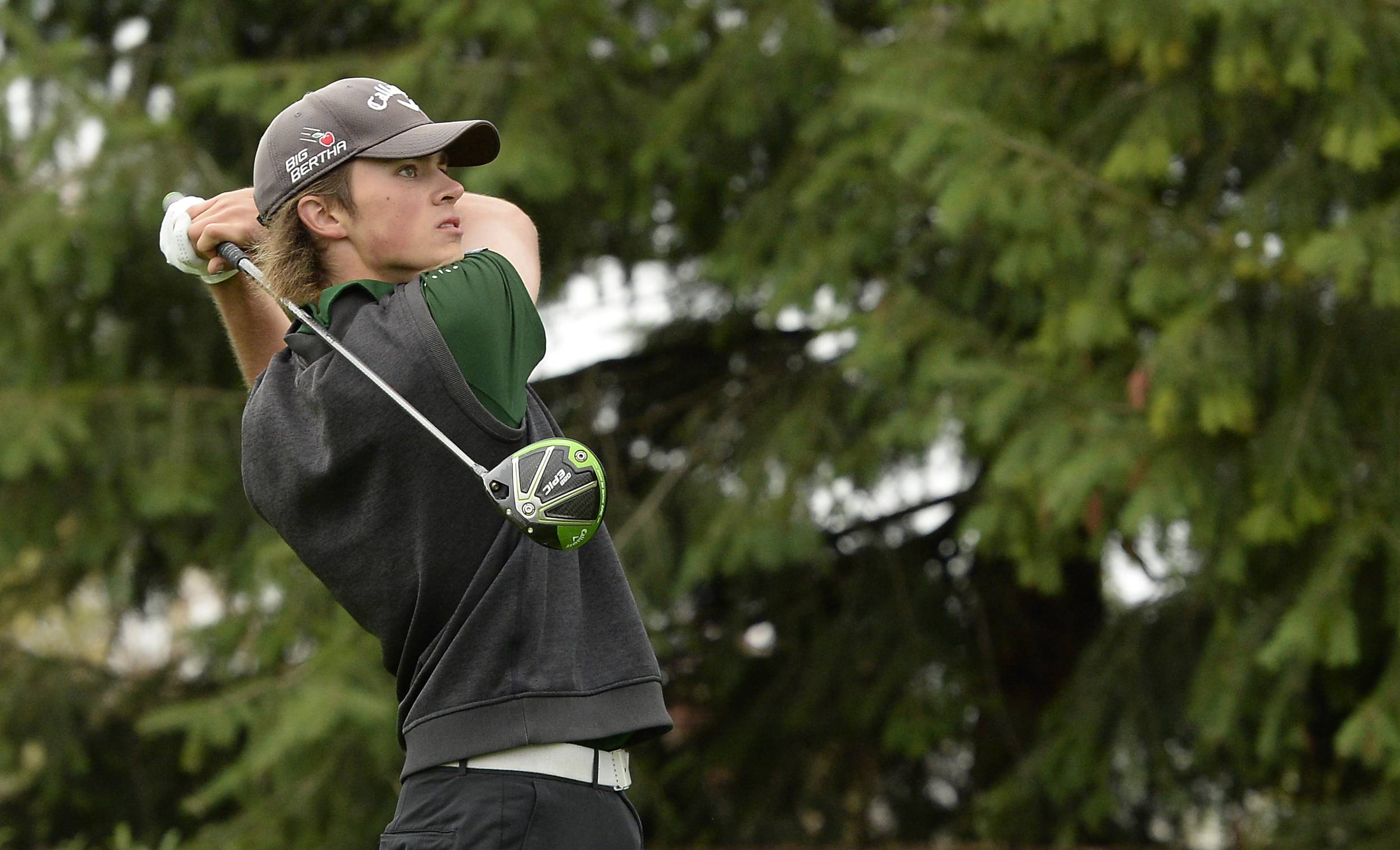 Stevenson's Mark Noonan watches the flight of his tee off on No. 1 in the boys golf regional at Makray Memorial Golf Club in Barrington on Tuesday.
