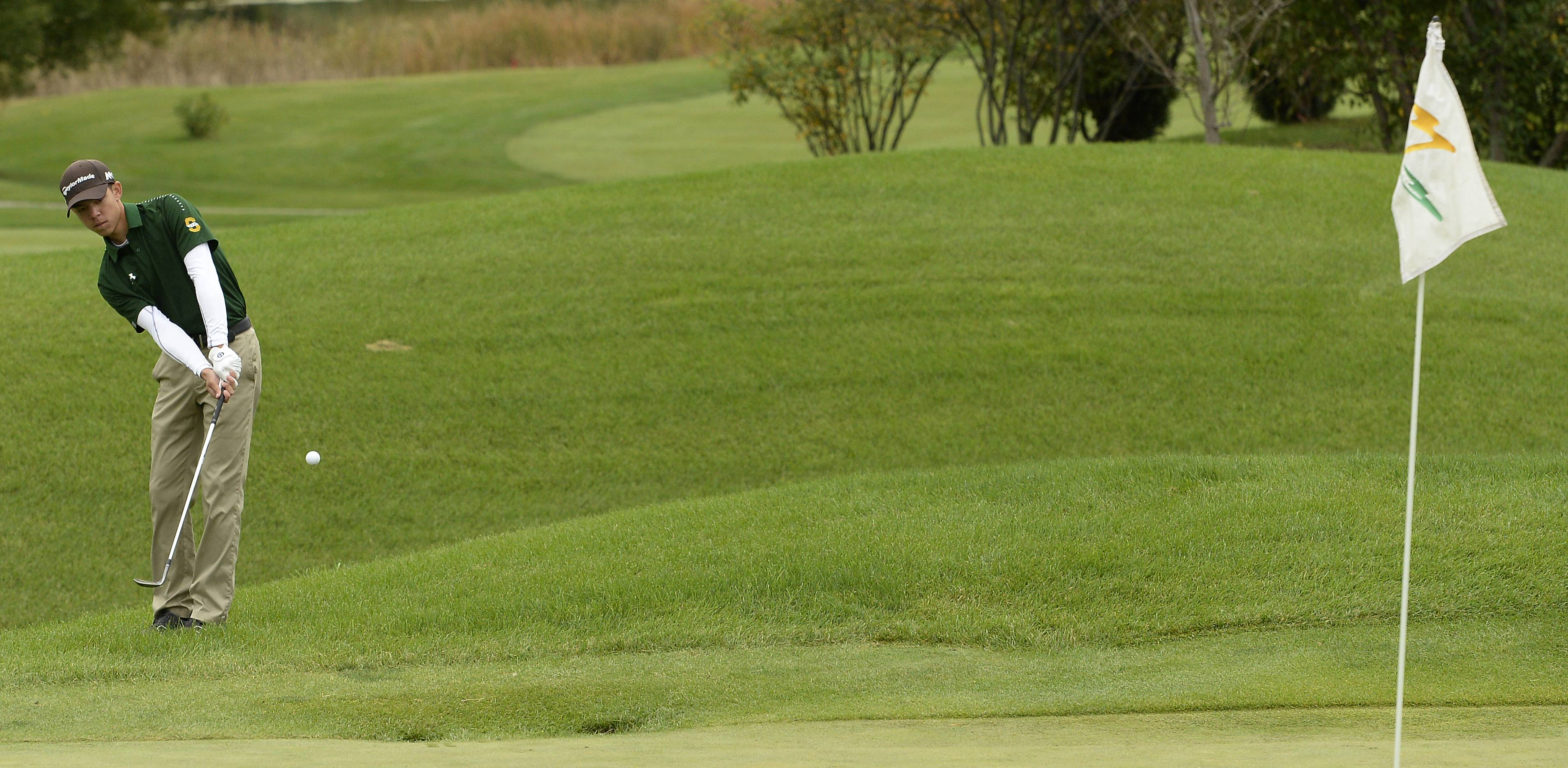 Stevenson's Jackson Bussell chips to the green on No. 1 at the boys golf regional at Makray Memorial Golf Club in Barrington on Tuesday.