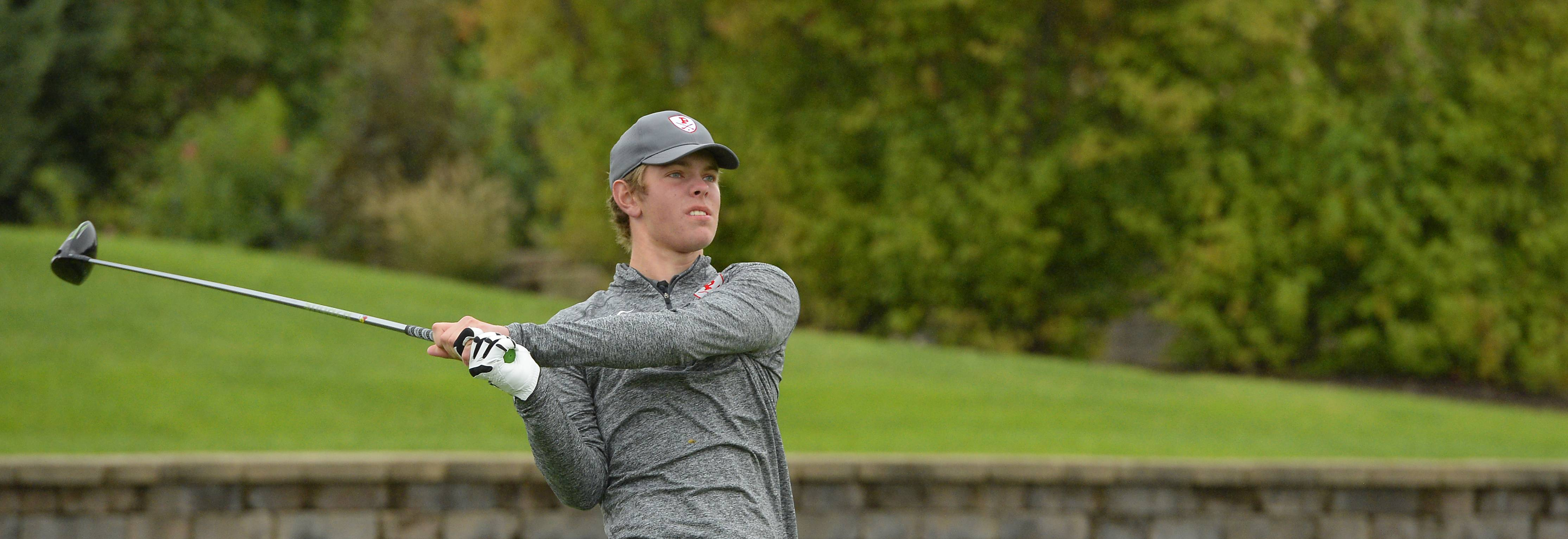 Palatine's Nick Oswald tees off in the boys golf regional at Makray Memorial Golf Club in Barrington on Tuesday.