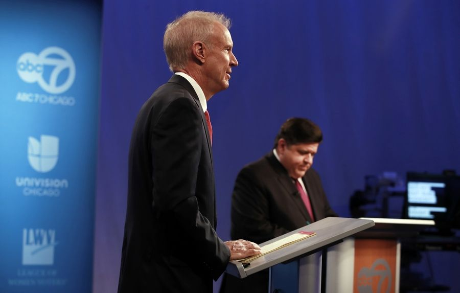Gov. Bruce Rauner, left, and Democrat challenger J.B. Pritzker had a second testy debate Wednesday on ABC 7.