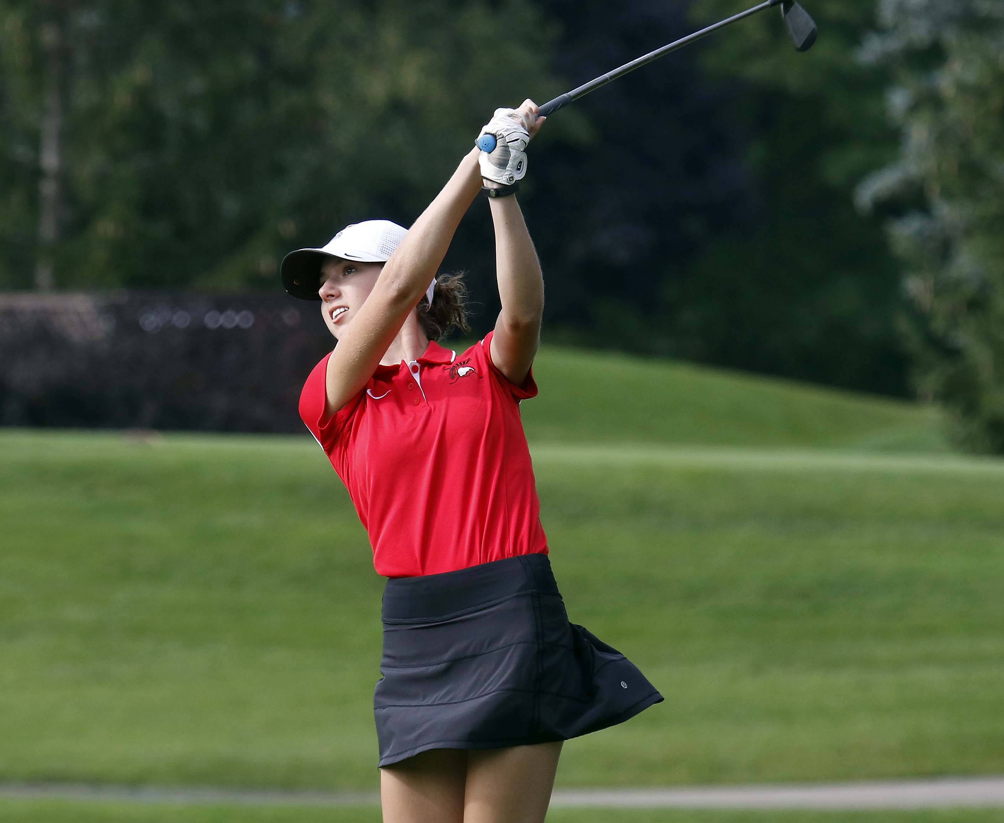 Deerfield's Kailey Bertram Wednesday during the Stevenson girls golf regional at Arboretum Golf Club in Buffalo Grove.