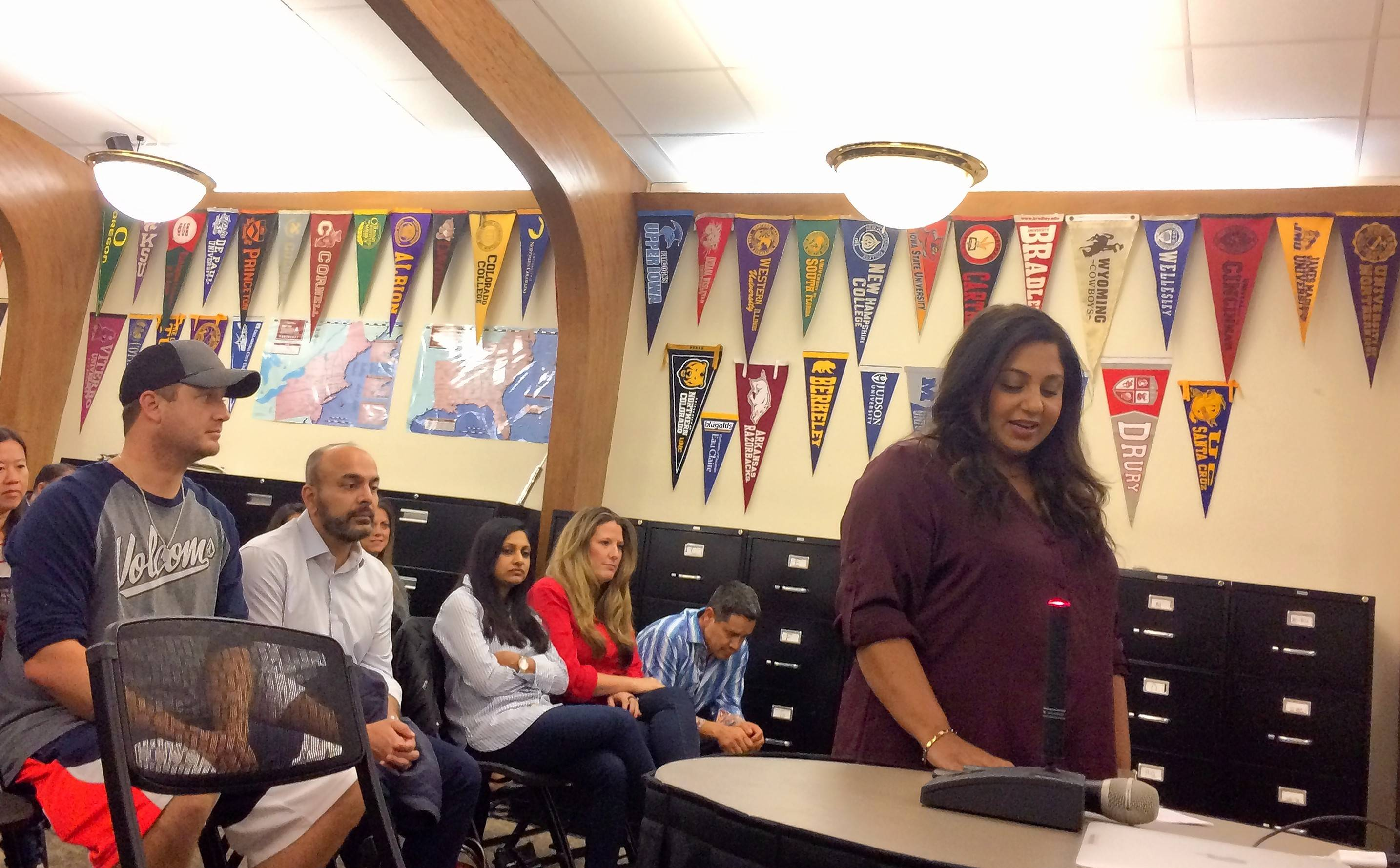 Barrington Area Unit District 220 board members Tuesday night agreed to delay a decision on a proposal for a change in where students from Barbara B. Rose Elementary School in South Barrington would move on to attend grades six through eight. Rose Elementary parent Bijal Chaturvedi asked the school board to hold off on pursuing a boundary change at this time.