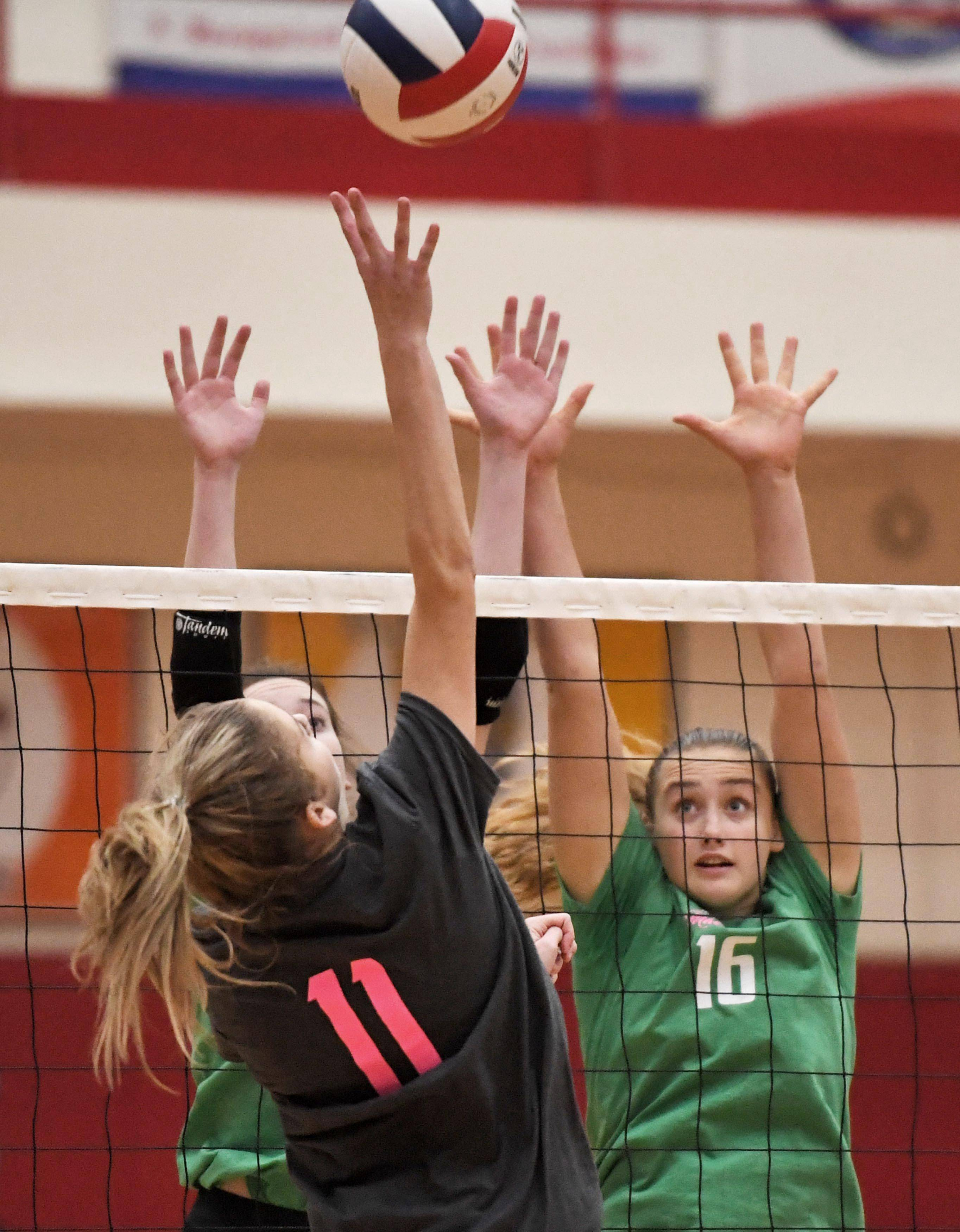 Palatine's Sydney Wiebe tries to get a shot over Fremd's Rylen Reid and Claudia Wala Thursday in a girls volleyball match at Palatine High School.