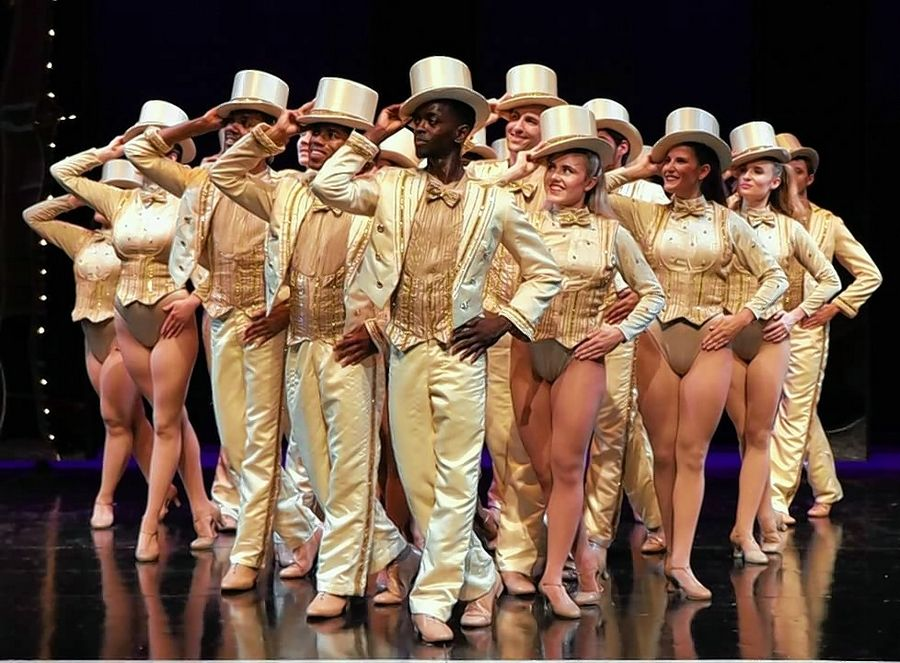 "It's show time for Broadway chorus hopefuls played by Lance Spencer, front row from left, Ben F. Locke, Ivory Leonard IV, Jordan Beyeler, Jessica Miret and Mollyanne Nunn in ""A Chorus Line,"" running through Nov. 3 at the Metropolis Performing Arts Centre."