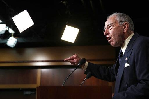 Senate Judiciary Committee Chairman Sen. Chuck Grassley, R-Iowa, speaks about the FBI investigation of Supreme Court nominee Brett Kavanaugh, Thursday, Oct. 4, 2018, on Capitol Hill in Washington.