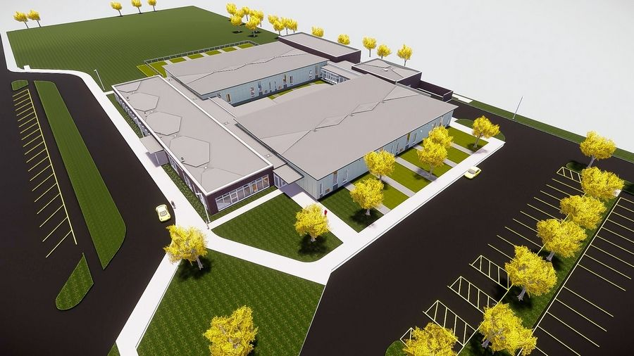 An aerial rendering shows the footprint of a new, 42,000-square-foot Jefferson Early Childhood Center.