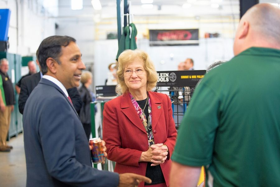 U.S. Rep. Raja Krishnamoorthi visits the innovative learning labs at the College of DuPage Technical Education Center with college President Ann Rondeau.