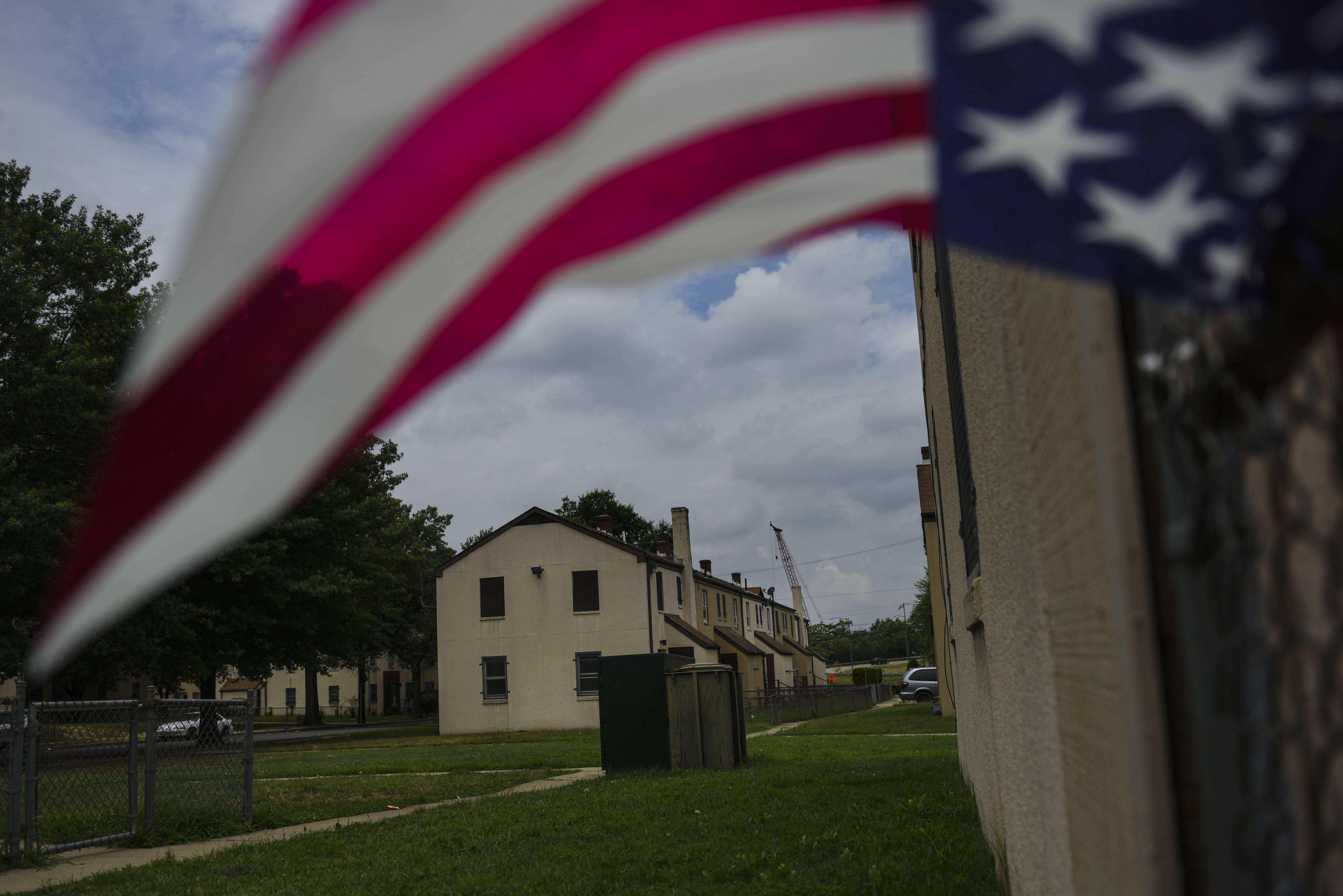 An American flag flies July 5, 2017, at Barry Farm, a Washington D.C. housing development that is to be demolished and rebuilt into multi-income housing.