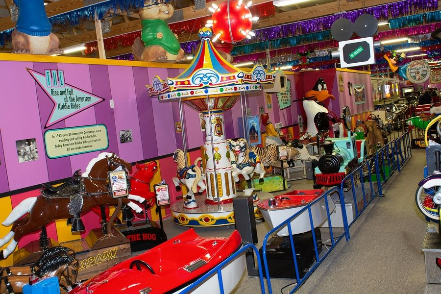 Antique kiddie ride collection on display at Volo Auto Museum.