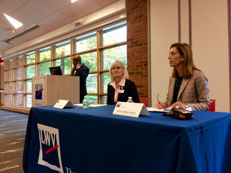 Republican state Rep. Helene Miller Walsh, right, and her Democratic challenger, Mary Edly-Allen, appeared at a candidate forum Saturday in Barrington. Moderator Tahman Bradley is in background. Miller Walsh and Edly-Allen are running in the Nov. 6 election for a seat in House District 51, which includes all or part of the Barrington area, Lake Zurich, Long Grove, Libertyville and Mundelein.